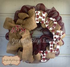 Texas A ATM Aggies Howdy Deco Mesh Wreath with Burlap and Hand-painted Letters via Etsy