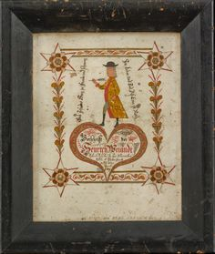 BOOKPLATE WITH STANDING TEACHER HOLDING QUILL PEN, ATTRIBUTED TO JOHANN ADAM EYER (1755-1837), VINCENT SCHOOL, CHESTER COUNTY, PENNSYLVANIA, DATED 1789