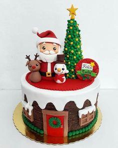 Christmas Themed Cake, Christmas Cake Designs, Christmas Cake Topper, Christmas Party Food, Xmas Food, Christmas Cupcakes, Christmas Desserts, Christmas Baking, Cake Decorating Techniques