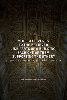 The believer is to the believer like parts of a building, each one of them supporting the other.
