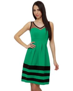 I just wish I had the money to buy this dress and pay for shipping--it's simply awesome. #lovelulus AS SEEN IN GIRL'S LIFE!! While the days of Darcy and Elizabeth are long past, there's not reason why you can't throw a party that would make them proud! The Have a Ball Striped Green Dress is modern-day romance at its best, with a sheer black mesh silhouette, pleats falling from inset waist, and smooth black stripes along bottom. Hidden back zipper. Unlined.