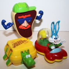 Vintage 3 90s  McDonald's toy premiums colorful by Ablast2thepast, $6.70