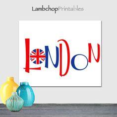 London British Flag wall art London Sign Red White Blue by LambchopPrintables, $5.00