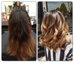 before and after long bob and soft ombre!