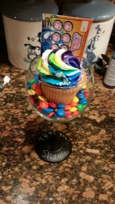 Employee appreciation chalkboard wine glasses with M & M's and cupcake