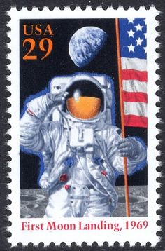 First Moon Landing: Apollo 11 Mission Postage Stamps Rare Stamps, Vintage Stamps, Postage Stamp Art, Stamp Printing, Man On The Moon, Tampons, Mail Art, Stamp Collecting, Oeuvre D'art