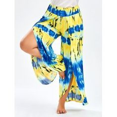 Cheap slit pants, Buy Quality wide leg directly from China long trousers Suppliers: Women Floral Print Wide Leg Slit Pants Boho Tie Dye Palazzo Sweatpants Plus Size Harajuku Beach Party Home Long Trousers Plus Clothing, Clothing Sites, Size Clothing, Fashion Pants, Fashion Outfits, Cheap Fashion, Stylish Outfits, Cute Outfits, Culotte Pants