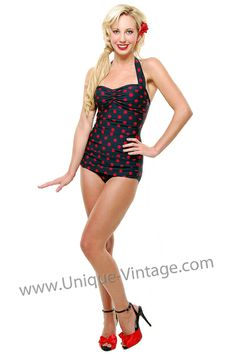 Vintage Swimsuit 50's Style Pin Up BLACK with Red Polka Dot Bathing Suit - 6 to 18