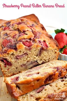 Inspired by the classic flavors of a PB&J, this Strawberry Peanut Butter Banana Bread is sure to quickly become a family favorite. Strawberry Peanut Butter Banana Bread Melanie Makes melaniebauer Recipes Scones, Strawberry Banana Bread, Strawberry Fields, Healthy Food Habits, Eat Healthy, Healthy Living, Best Nutrition Food, Nutrition Products, Peanut Butter Banana Bread