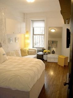studio apartment. The mirror is great, because it makes a small studio look bigger!