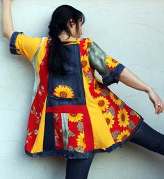 Reserved for Bonnie crazy sun flowers patchwork by jamfashion