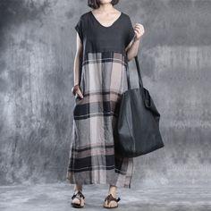 Women summer short sleeve cotton linen dress