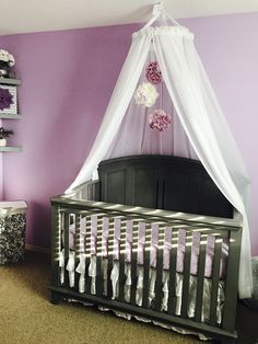 Diy crib canopy and flower mobile baby nursery diy, nursery crib, nurseries baby, Baby Nursery Diy, Nursery Crib, Girl Nursery, Girl Room, Girl Cribs, Baby Cribs, Nurseries Baby, Diy Home Decor Bedroom, Baby Room Decor