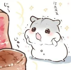 Cute Kawaii Drawings, Cute Animal Drawings, Kawaii Art, Kawaii Anime, Hamster Cartoon, Baby Hamster, Kawaii Chan, Cute Kawaii Animals, Cute Hamsters