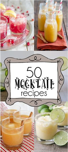 I'm always looking for fun, non-alcoholic drink recipes, these look tasty! 50 Mocktail Recipes - non-alcoholic drink recipes, the perfect way for the whole family to ring in the new year! Refreshing Drinks, Summer Drinks, Cocktail Drinks, Fun Drinks, Non Alcoholic Drinks New Years, Mocktail Bar, Non Alcoholic Drinks For Party, Alcoholic Beverages, Cold Drinks