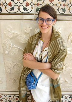 Jen Mankins of Bird wearing the best ever shawl and bag.