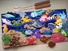 """"" UNDER the SEA Montessori book for Toddler with Magnetic fishing game and Felt sea animals, Educational busy book, Christmas gift kids """" BAJO el libro MAR Montessori para niños pequeños con imanes Diy Quiet Books, Baby Quiet Book, Felt Quiet Books, Toddler Books, Toddler Gifts, Activities For Kids, Crafts For Kids, Indoor Activities, Learning Activities"