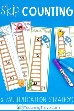 Skip counting is a great multiplication strategy to teach your third grade students. If they don't know the answer to a multiplication fact, have them skip counting from the known facts. Use these skip counting activities with small groups and in math centers. #multiplication #multiplication1-12 #math #thirdgrade #multiplicationstrategies