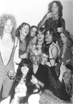 Killer Kane, David Johnasen, Iggy Pop, Kim Fowley, fans and groupies, Los Angeles, circa 74.