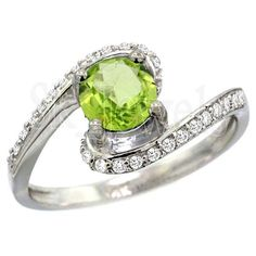 THANKSGIVING DAY 0.84ct NATURAL DIAMOND PERIDOT 14k  WHITE GOLD ENGAGEMENT RING  #sk_jewels #Cocktail #Engagement