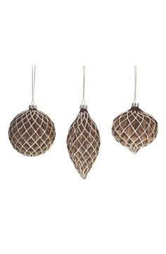 Shimmer Glass Ornaments (Set of 3)