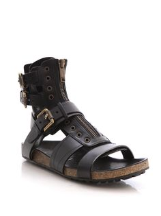 Burberry Prorsum Leather Runway Sandals in Black for Men