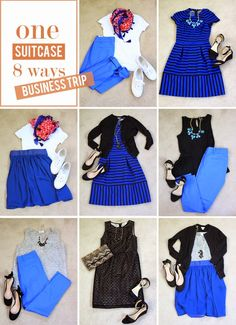 48bf4bcd07 Mix n Match Suitcase  black and blue work packing list (plan your own  travel outfits like this with Stylebook!