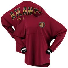 Women s Atlanta United FC Branded Red Cuffed Spirit Jersey Long Sleeve T- Shirt 8654a3bd6