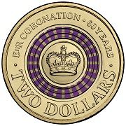 The coin that started it all!    This purple striped $2 coin celebrating the 60th anniversary of the Coronation of Her Majesty Queen Elizabeth II will be making it's way to the pockets of Australians soon. This is our colourful change, what's yours?