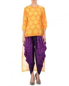 SWATI VIJAIVARGIE  Mango Yellow Low High Shibori Tunic with Dhoti Pants