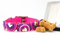 Pink and Silver Beaded Hearts Dog Collar Beaded Dog Collar, Pink Dog Collars, Girl And Dog, Clay Beads, Pet Accessories, Fur Babies, Hand Sewing, Dogs, Heart