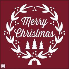 Primitive Stencil, MERRY CHRISTMAS Wreath Laurel Typography Holidays Pine Trees #AmericanaPrimitiveStencils