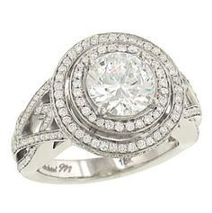 $7490  Halo Pave Diamond Engagement Ring .82cttw (CZ ctr): Jewelry  cz engagement rings