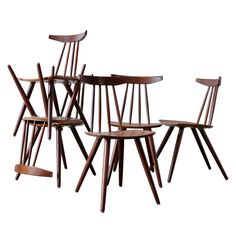 Set of 6 Frem Rojle Spindle Back Dining Chairs | From a unique collection of antique and modern dining room chairs at http://www.1stdibs.com/furniture/seating/dining-room-chairs/