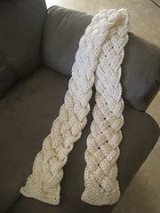 Ravelry: Rapunzel Scarf pattern by Kristen Hein Strohm (unfortunately the pattern is not free,  but it looks like you mainly use a dc stitch to make the separate braid-able sections)