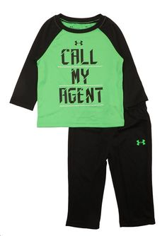Under Armour 0 3 6 M CALL MY AGENT 2 Pc NWT Pants L//S Bodysuit Top