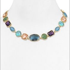 "Carolee California Girls Collar Necklace NWOT Gold tone–plated base metal/glass/epoxy/reconstituted turquoise 17""L with 2"" extension Lobster clasp closure, never worn in new condition. carolee Jewelry Necklaces"
