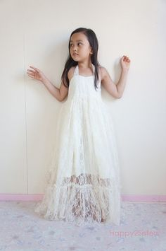 Lace Flower girl dress Gilrs maxi dress Rustic by Happy2sisters