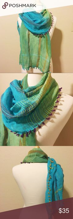 100% Natural Cotton & Tencil Handmade Scarf - New with tag - 100% natural cotton and tencil - All colors made from vegetables and eco friendly dyes - Handmade - 65x21 inches - Unique design, Green and Turquoise Color Karma Accessories Scarves & Wraps
