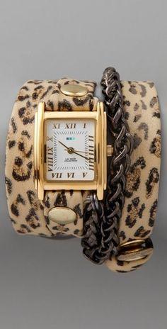 "La Mer Collections ""Leopard Motor Chain Wrap Watch"""
