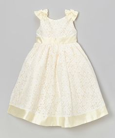 Look what I found on #zulily! Banana Bow Lace Dress - Toddler & Girls #zulilyfinds