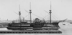 Le Redoutable, 1876, the first warship to be built with an all steel hull. A time of transition in warship construction- note the ram bow, masts for a fully rigged ship and central armored battery.