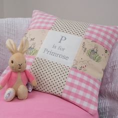 Flopsy Bunny makes the perfect companion for this Peter Rabbit Alphabet cushion. Made from pink gingham and grey polka dot fabric. She'll be her new best friend Gingham Fabric, Pink Gingham, Peter Rabbit Fabric, Childrens Cushions, Somebunny Loves You, Peter Rabbit Nursery, Rabbit Crafts, Patchwork Cushion, Little Girl Gifts