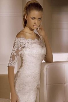 Half Sleeve Court Train Off-the-shoulder Natural Waist Button Back Lace Trumpet Tulle Wedding Dress
