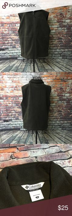 Columbia Cathedral Peak Fleece Vest Zip SZ Medium Columbia Cathedral Peak Fleece Vest Zippered hand pockets Men's size Medium color Olive, Mock Collar. Embroidered Logo perfect condition see pictures for measurements!!! Columbia Jackets & Coats Vests