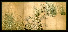 Stretched Canvas Print: Japanese Autumn Grasses, Six-Fold Screen, Early Edo Period : Japanese Screen, Art Japonais, Edo Period, Motif Floral, Japanese Painting, Painting Edges, Cool Posters, Stretched Canvas Prints, Metropolitan Museum