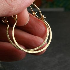 Solid 18k yellow gold 1 inch hammered hoop by hartleystudio, $332.00