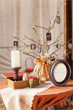 "Great memorial table with ""family tree"" decoration and hanging pendants #mwri #memorial #decorations"
