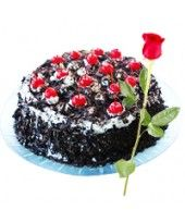 Tempting Black Forest #Cake and Single Red #Rose   @fcakez