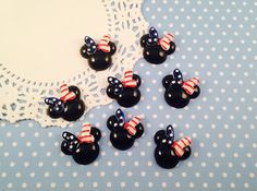 4pc 4th of July Minnie Mouse 28mm Kawaii Resin Flatback Cabochon Scrapbook Decoden Craft DIY